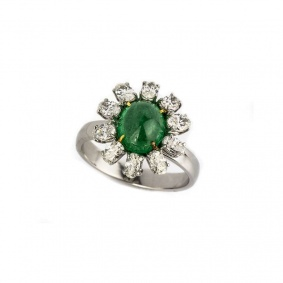 18k White Gold Emerald and Diamond Ring 1.83ct